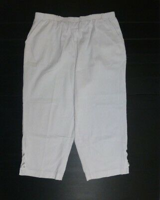 Blair Womens Size Large White Elastic Waist Crinkle Capri Pants New With Defects