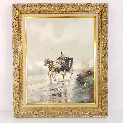 Vtg Horse Buggy Carriage Winter Dickens Christmas Scene Large Frame Oil Painting