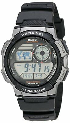 Casio Watch Men's AE1000W-1BVCF Silver-Tone Black Digital Sport Black Resin