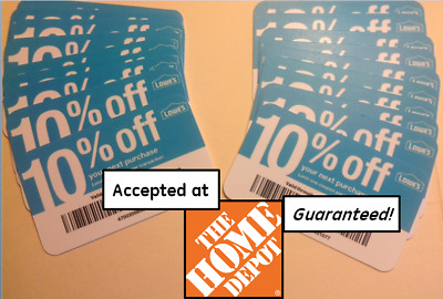(20x) GUARANTEED 10% Off HOME DEPOT ONLY Twenty Blue Card Coupons Lowes