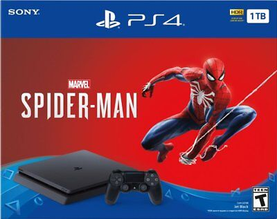 Sony PlayStation 4 slim 1TB Marvel's Spider-Man Console Bundle Jet Black Sealed