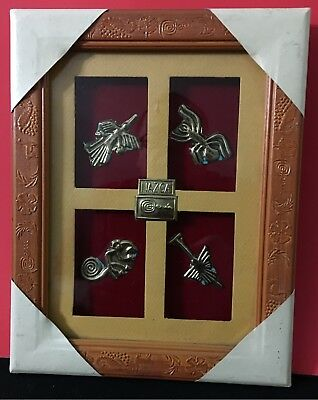Framed Nazca Culture Figures (PERU)+ Brass Frame w Pre-Inca Ornaments - NEW
