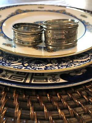 Antique Victorian Aesthetic Flowers Silverplate Silver Napkin Ring Holders X 2