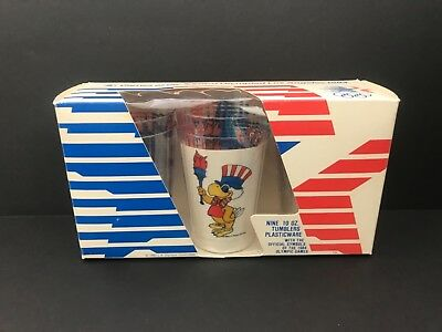 Lot of Vintage 1984 Olympic Games Plastic Cups & Box 23rd Olympiad L.A. (NEW)