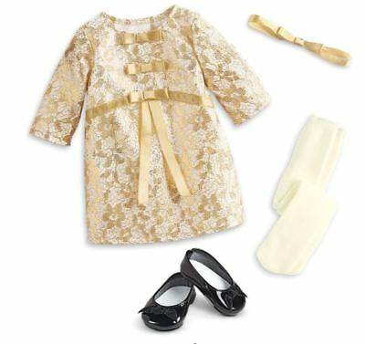 AMERICAN GIRL Melody Christmas Outfit *gold embossed holiday dress+shoes+tights+