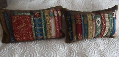 vintage hand worked  tapestry cushions book theme