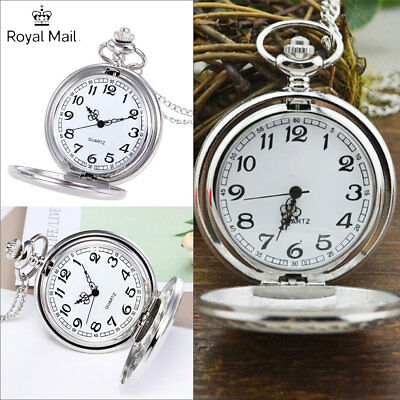 Pocket Watch Stainless Steel Quartz Pendant And Chain Vintage Smooth Steampunk