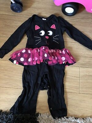Baby Girls F&F 12-18 Months Cute Cat Romper Footless Sleepsuit Dress Up