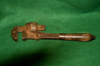 "Antique Stillson 12"" Long Solid Bar Pipe Monkey Wrench Inv#RH38"