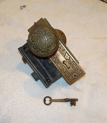 Antique 1890's P&F Corbin antique brass door Knob with lock and key