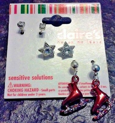 BRAND NEW! Claire's Sensitive Solutions Christmas Earrings - 3 Piece Set - CUTE!