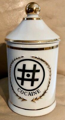 Vintage Porcelain Apothecary Pharmacy Jar Cocaine  Made in Japan FL