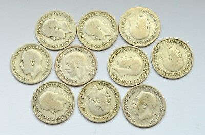 Great Britain Uk 6 Pence Lot Of 10 Ten Silver Coins 1920-1935