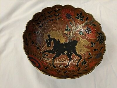 EXC VTG Solid Brass Painted Fancy Horse Decorative Bowl - Made in India 6.5 inch