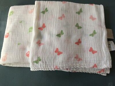 Lot of 2 Aden and Anais Swaddle Muslin gauze  Girl Blankets butterfly ladybug