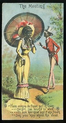 """Lot 53: 1890's """"The Meeting and the Rejected"""" Black Americana Trade Card"""
