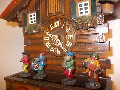 Vintage Twin Tune Musical Cuckoo Clock with Musicians (c1970)