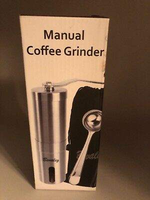 Bevalig 4 Piece Manual Travel Coffee Grinder with Pouch Spoon & Brush Brand NEW