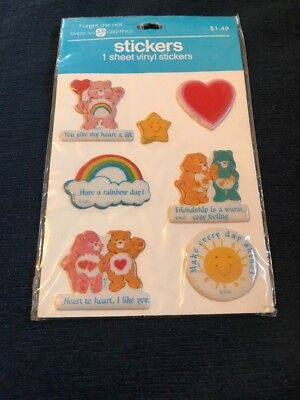 New NIP Vintage Care Bears Puffy Stickers Hug Rainbow American Greetings