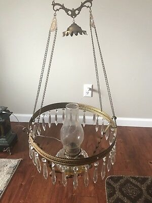 Antique Victorian Hanging Brass B&A Parlor Pull Down Oil Lamp Frame