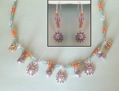 Handmade SET Earrings & Necklace Gypsy Style Silver Sun Beads Fashion Ethnic LOT