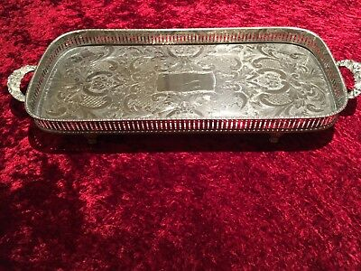 Antique Silver Plated Large Tray