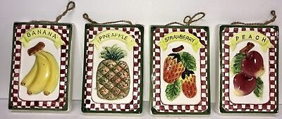 Vintage Set Of 4 Ceramic Fruit Wall Decor Fr2c 18 00