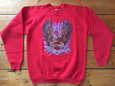 Harley Davidson Motorcycles Vintage 1989 Red Sweatshirtsweater Xl