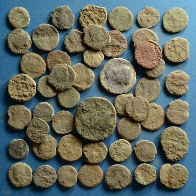 Lot of 50 Uncleaned Low Quality Roman Bronze Coins #1