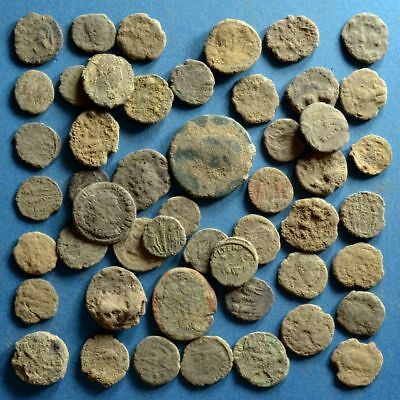 Lot of 50 Uncleaned Low Quality Roman Bronze Coins #2