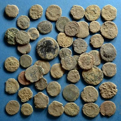 Lot of 50 Uncleaned Low Quality Roman Bronze Coins #3