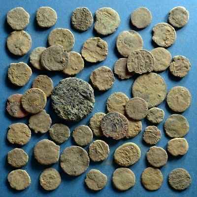Lot of 50 Uncleaned Low Quality Roman Bronze Coins #4