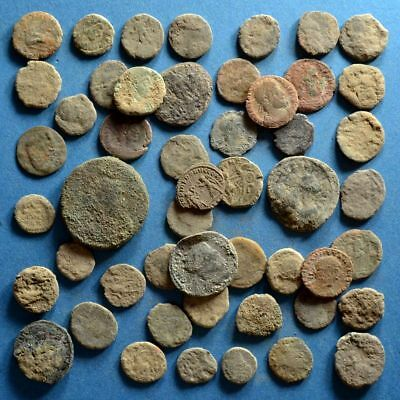 Lot of 50 Uncleaned Low Quality Roman Bronze Coins #5
