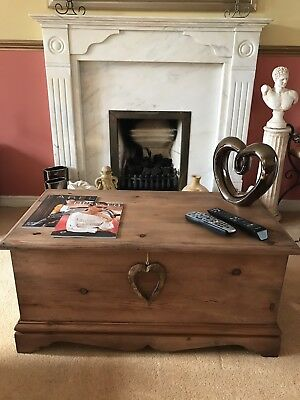 Old Antique Pine Chest, Blanket Box, Vintage Storage Trunk, Wooden Coffee Table