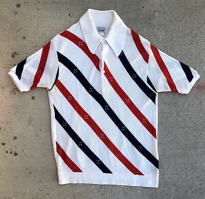 Vintage 60s 70s Red White Blue Striped Acrylic Knit Shirt atomic rockabilly mod