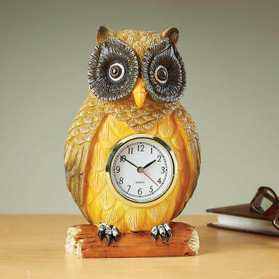 Owl Figurine Clock Home Decor Gift Branch Perching Mantel Table Bird Sculpture