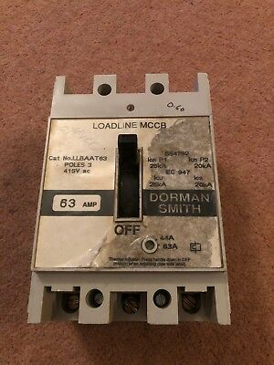 DORMAN SMITH 63 AMP 25kA TRIPLE POLE MCCB LOADLINE TYPE AA WHITE