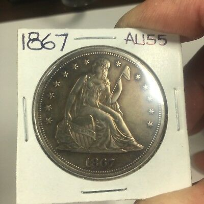 1867 Seated Liberty Silver Dollar  Very High Grade Circulated
