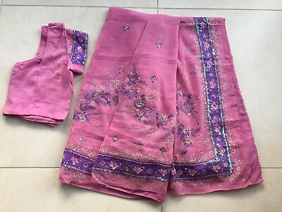 Pink And Purple Saree With Matching Blouse Size 10-12