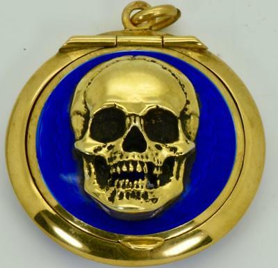 ONE OF A KIND Victorian silver&enamel Doctor MEMENTO MORI SKULL poison/pill box