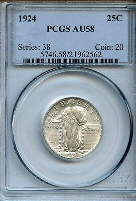 1924-P Standing Liberty Quarter  Silver Coin PCGS AU 58 Almost Uncirculated