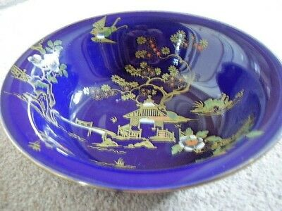 BURSLEY WARE Crown Pottery COBALT BLUE GLAZE WITH A Chinese PATTERN large BOWL