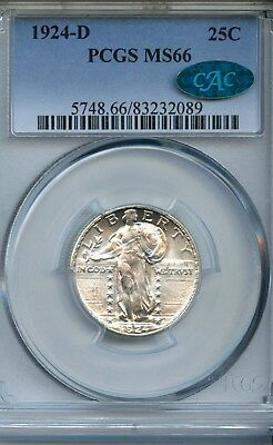 1924-D Standing Liberty Quarter (MS-66) PCGS & CAC!!! BRIGHT WHITE!!!
