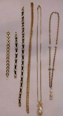 Lot of Vintage heavy gold tone link chain necklaces bracelets faux enamel pearl