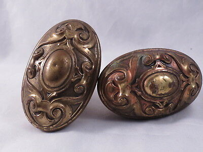 Antique Hardware Solid Brass Oval Victorian Ornate Door Knob Set of 2
