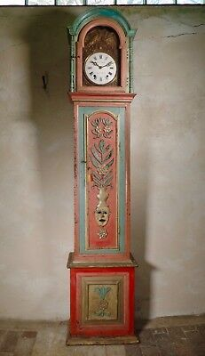 Antique 18th Century Painted Portuguese Original Hand Painted Longcase Grandfath