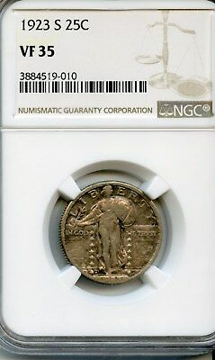 1923-S Standing Liberty Quarter NGC VF 35 Beautiful VERY RARE DATE