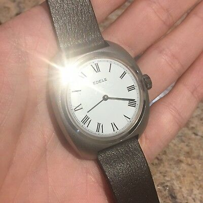 Vintage Edele Swiss Mens Watch Working Original Strap New Old Stock