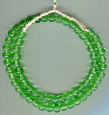 African Trade beads vintage Venetian ? green glass round beads