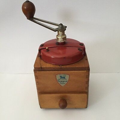 Wonderful Vintage Peugeot French Coffee Grinder Mill Red Bakelite Top -Working